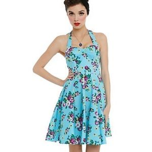 HELL BUNNY TURQUOISE HALTER DRESS